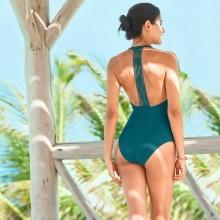 Jednodielne jednofarebné plavky Casalta, macramé chrbát