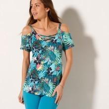 Tričko s odhalenými ramenami a tropickým vzorom