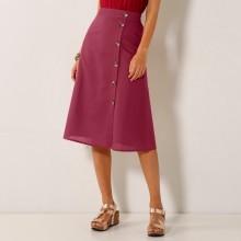 Midi sukně na knoflíky - bavlna/len