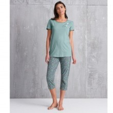 3/4 pyžamové nohavice s potlačou kvetín