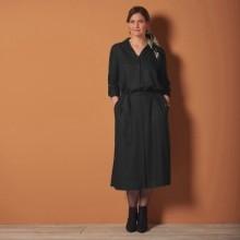 Košeľové jednofarebné šaty, čierne