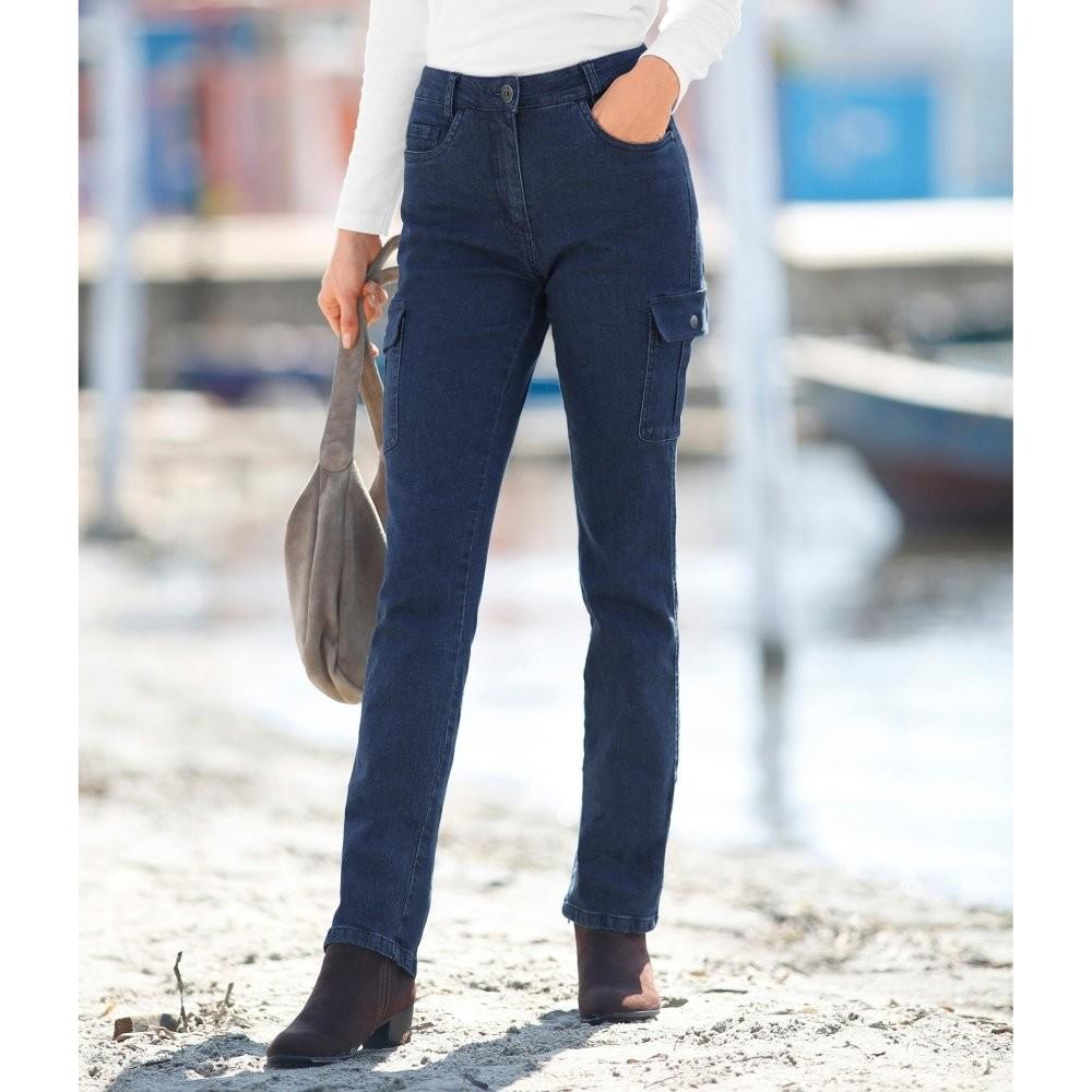 Levně Rovné džíny s kapsami modrá 40