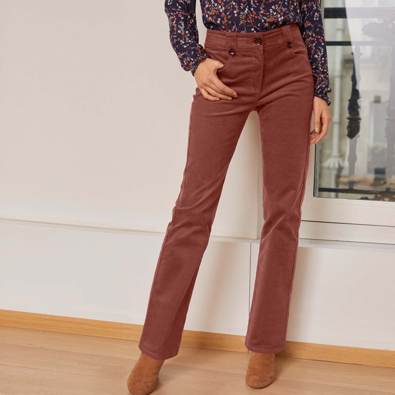 Levně Manšestrové kalhoty s knoflíky karamelová 50