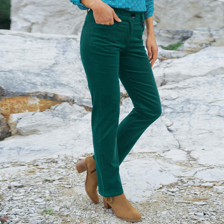 Levně Manšestrové kalhoty s knoflíky smaragdově zelená 46