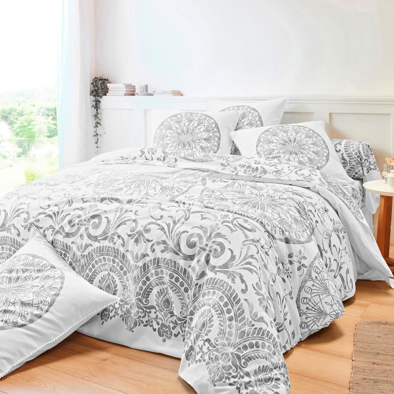 Levně Povlečení Zelie, bavlna, zn. Colombine šedá napínací prostěradlo 140x190cm